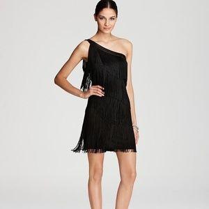 NWT Aqua One Shoulder Fringe Dress Size 4